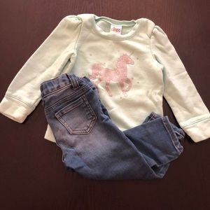 Unicorn Sweater and Jeans Outfit 2T